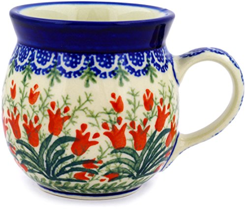 Polish Pottery Bubble Mug 8 oz Sprouting Tulips ()