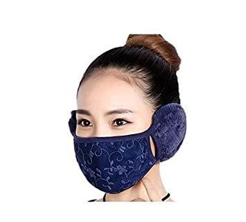 Women Girls Winter Warm Cloth Anti Dust Face Mouth Mask Antibacterial Mouth  Cover with Earcap Earloop bc9f9a32e1