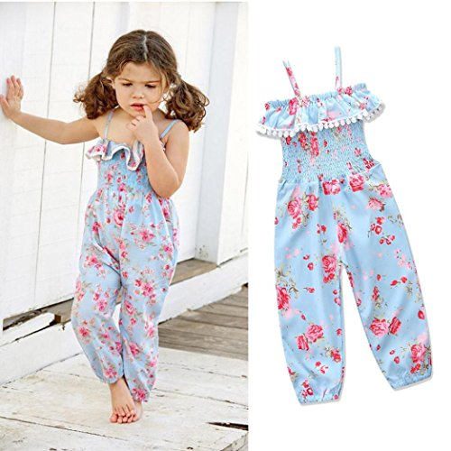 Franterd Baby Girls Straps Rompers, Kid Flower Print Jumpsuits Piece Pants Clothing (Blue, 3T)
