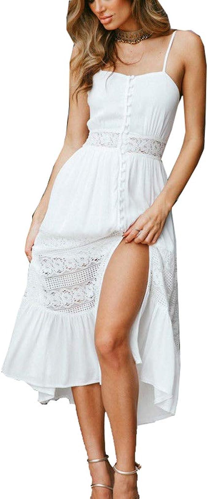 ACLOIN Damen Sommerkleid Lang, Sommer Strandkleider Weiß Häkeln Spitze,  Button down Sommer Kleid, Spaghetti Kleid