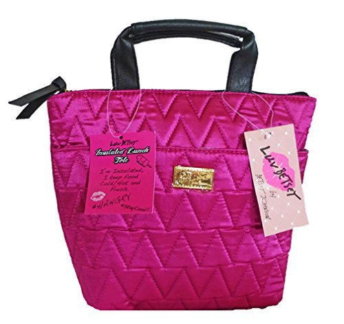 Betsey Johnson Quilted Fuchsia Insulated Lunch Tote Bag