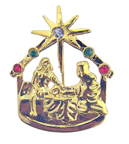 CB Nativity of Christ Star Bethlehem Gold Tone Christmas Lapel Pin