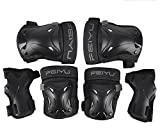 BicycleStore 6 in 1 Skateboard Roller Blading Bicycle BMX Extreme Sports Elbow Knee Wrist Protective Safety Gear Pad for Chind Adult Black (L/XL (140KG-200KG))