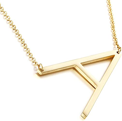 18k Yellow Gold Plated Sideways Initial Necklace 22 Inches