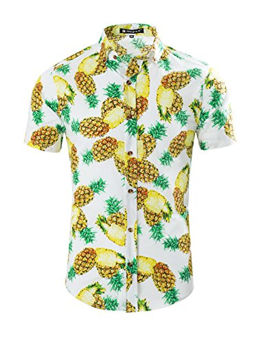 uxcell Men Summer Pineapple Print Slim Fit Short Sleeve Button Down Hawaiian Shirt White M