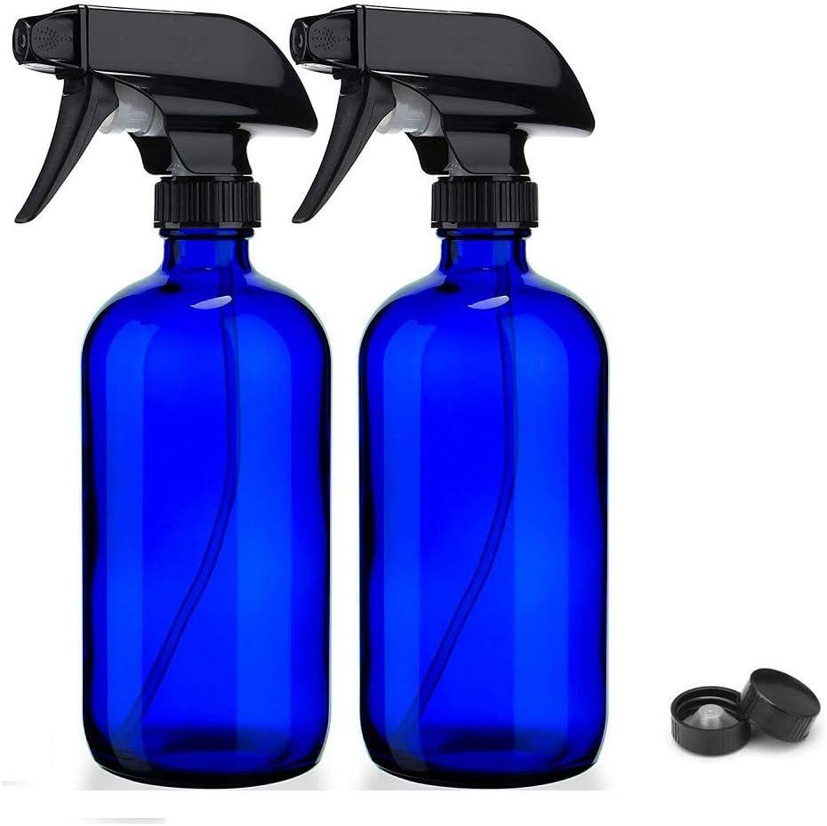 16 Oz Azul Cristal del aerosol Botella Botellas Rellenables Boston Redondo Con El Gatillo Rociador De La Niebla Y AJUSTES-Stream Para Los Aceites Esenciales, Productos de Limpieza, Aromaterapia (2)