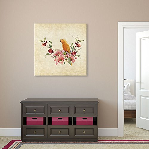 Square Antique Style Painting with a Yellow Parrot and Flowers