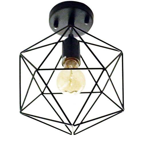 1 Light Flush Mount Semi (Unitary Brand Antique Black Metal Cage Shade Semi Flush Mount Ceiling Light with 1 E26 Bulb Socket 40W Painted Finish)