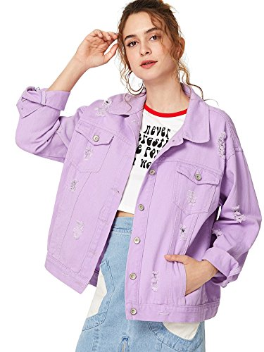 Floerns Women's Ripped Distressed Casual Long Sleeve Denim Jacket Purple S