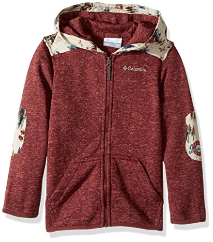 (Columbia Boys' Little Birch Woods Ii Full Zip Fleece Jacket, Red Rocks Heather, Charcoal Print)