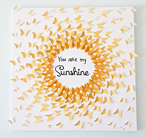 Hand-made 3D Butterflies - Ombre Sun Art with Quote! Customizable! 24 x 24 by My Happy Heart Art