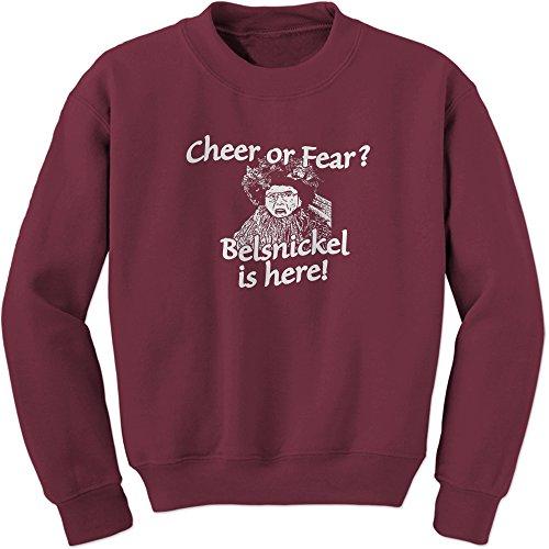 Crew Belsnickel Cheer or Fear Adult Medium Maroon (Christmas Dutch Office Pennsylvania)