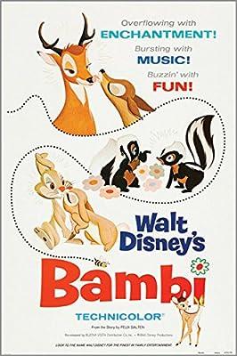 HSE walt disney's BAMBI vintage MOVIE POSTER rabbits skunks KID ...