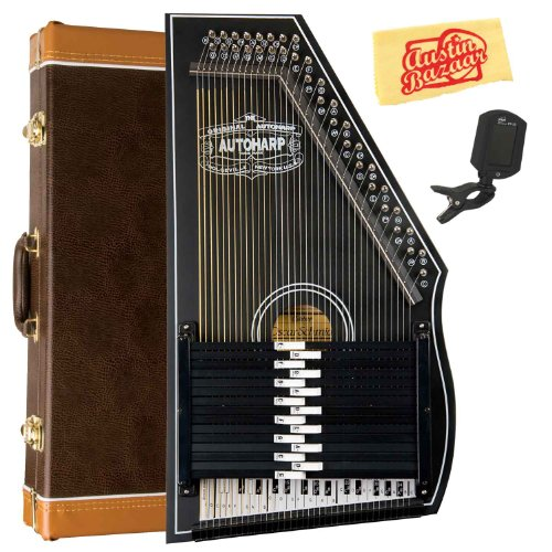 Oscar Schmidt OS73B 1930's Reissue 15 Chord Autoharp Bundle with Hard Case, Tuner, and Polishing Cloth - Black by Oscar Schmidt