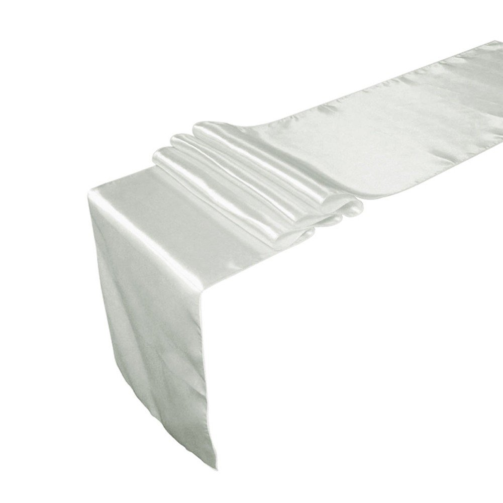 Freebily 12 X 108 inch Satin Table Runners Chair Sashes Swags Wedding Party Table Decoration Silver One Size