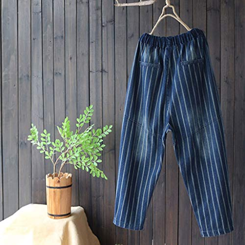 Rxf color Pantalones Metro Cordón Con Azul Para Tamaño Rayas Algodón De Vaqueros Azul Harlan Mujeres Sueltos Holgados Nueve rAHqr