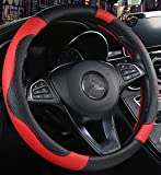 ISTN Men's Sport Style Contrast Color Non-Slip Sweat Good Breathable PU Leatherette 15 inch Car Steering Wheel Cover Red