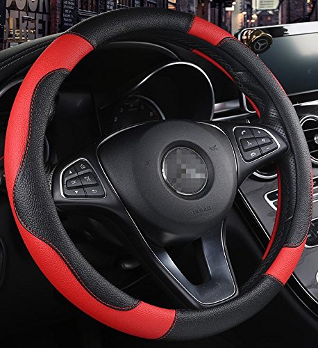 ISTN Men's Sport Style Contrast Color Non-Slip Sweat Good Breathable PU Leatherette 15 inch Car Steering Wheel Cover Red ()