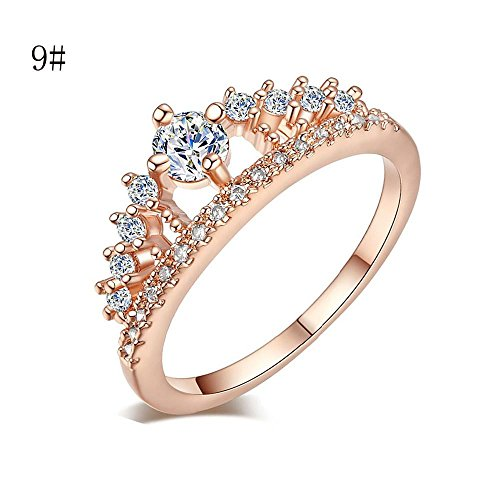 144061895 Lethez Womens Ring Gold Pretty Crown Ring Lady Crystal Ring Princess Ring  Engagement Wedding Ring Jewelry