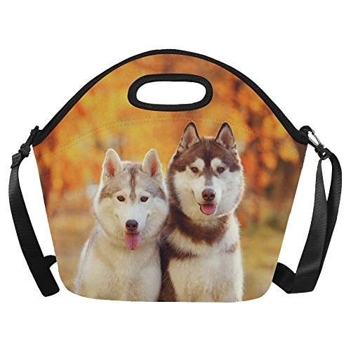 InterestPrint Cute Red Siberian Husky Large Reusable Insulated Neoprene Lunch Tote Bag Cooler 15.04