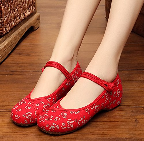 Womens Jane Dress Qipao Painting Mary Flower Red Shoes AvaCostume Flats vqB4PP