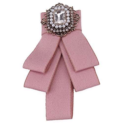 ZOONAI Women Girls Rhinestone Brooch Pin Wedding Party Bow Tie Pre Tied Neck Tie -