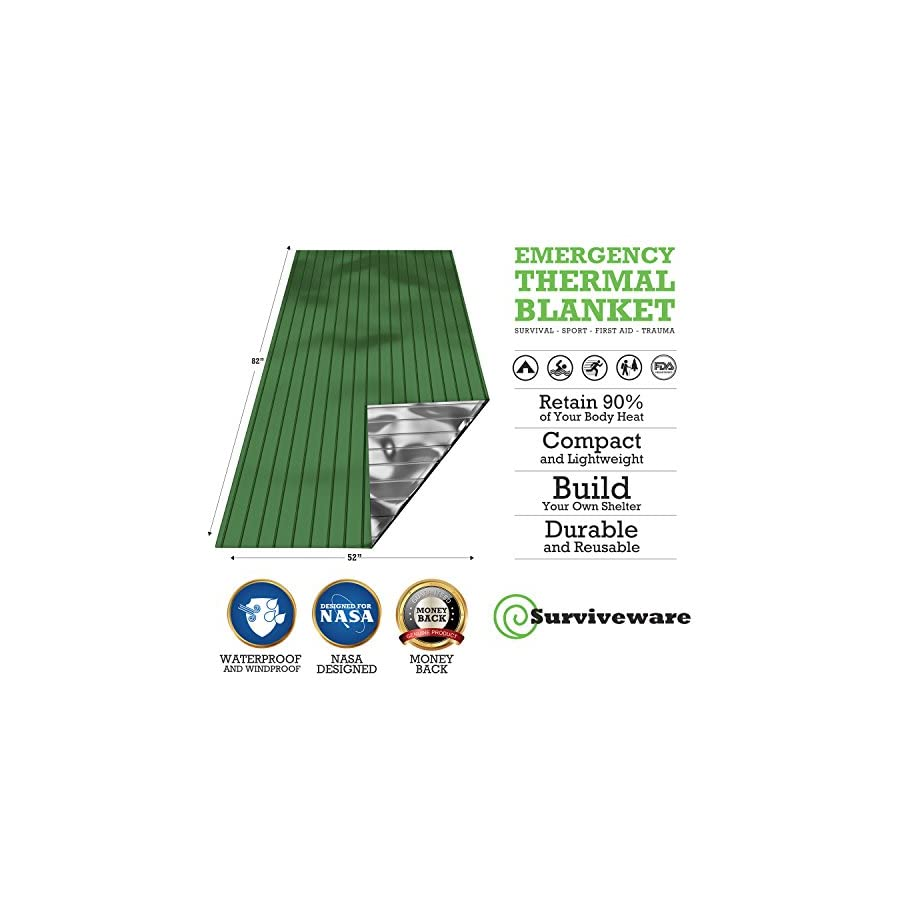 Surviveware Emergency Mylar Blankets (5 Pack). Ideal for Survival, Hiking, Running, Backpacking and Marathons Great for Cars, Bug Out Bags and First Aid Kits. Safe is Boring, Be Prepared