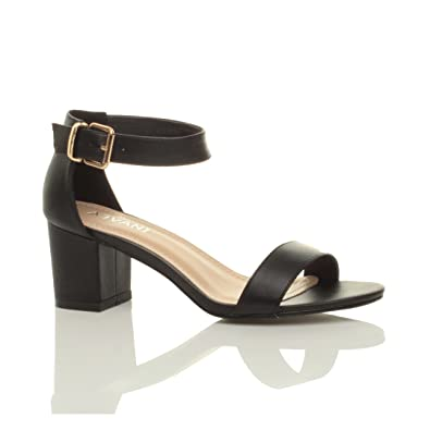 ceebb0832d1 Ajvani Womens Ladies mid Heel peep Toe Buckle Ankle Strap Party Strappy  Sandal Size 3 36