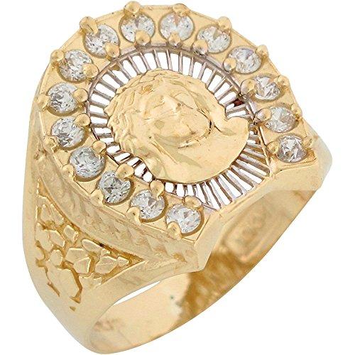 (Jewelry Liquidation 10k Two Tone Gold White CZ Face of Jesus Filgree Mens Diamond Cut Nugget Ring)