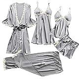 Women Sexy Lace Lingerie Nightwear Underwear Babydoll Sleepwear Dress 5PC Suit Gray