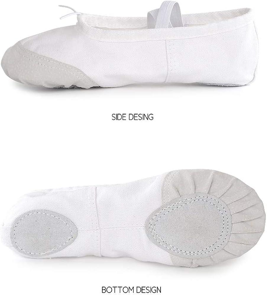 Soudittur Zapatillas de Ballet Suela Partida de Cuero Calzado de Danza para Ni/ña y Mujer Adultos Tallas 21-44