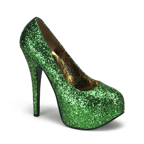 Bordello by Pleaser Women's Teeze-06 Platform Pump,Green Glitter,11 M (06 Platform)