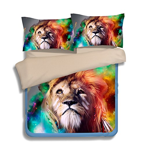 FAITOVE Colorful Lion Microfiber 3pc 90''x90'' Bedding Quilt Duvet Cover Sets 2 Pillow Cases Queen Size by FAITOVE