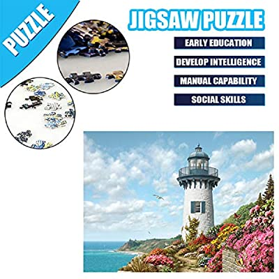 Jigsaw Puzzles 1000 Piece for Adults Lighthouse Painting Puzzle Toy Home Decor Unique Gift: Toys & Games