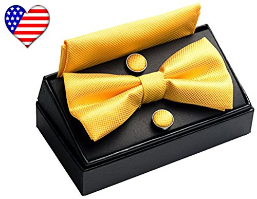 OUMUS Adjustable Classical Men's Pre-Tied Bow Tie Set, Gold (Classical Tie)