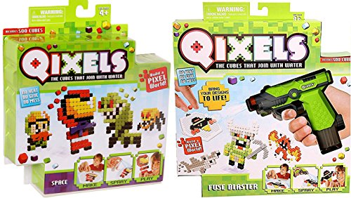 Mighty Toy Farm Series (Qixels Space Theme Cubes Refill 2-Pack Crafting Water System Aliens / Creatures / Astronauts / Monsters & more)