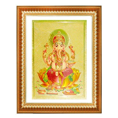 Ganesha Wall Frame (Ratnatraya Lord Ganesha Golden Frame Wall hanging)
