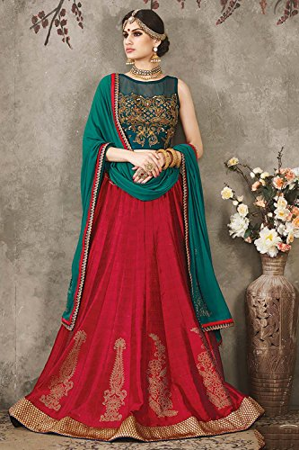 PCC Indian Women Designer Wedding red Lehenga Choli K-4460-38806