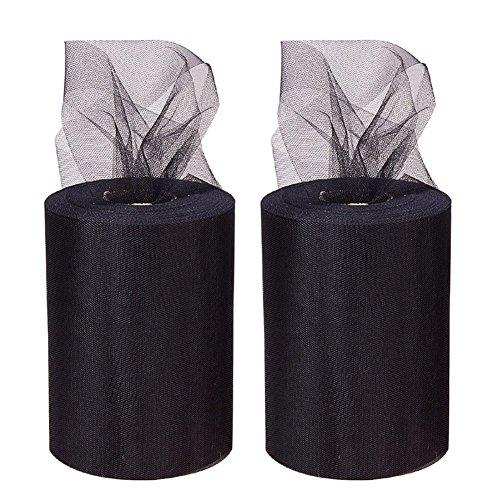 Black Fabric Spool - BENECREAT 2 Roll 200 Yards/600FT Tulle Fabric Rolls Spool for Wedding Party Decoration, DIY Craft, 6 Inch x 100 Yards Each (Black)