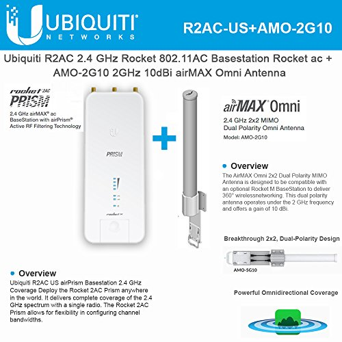 Ubiquiti R2AC US airPrism Basestation 2.4GHz Rocket ac airMax + AMO-2G10 Omni Antenna 2GHz 10dBi by UBNT