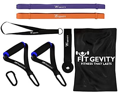 "Resistance Bands - Heavy Duty 41"" Loop Band Set - Handles, Door Anchor - for Legs, Arms, Pull-Up, Yoga, Pilates, Stretching, Weight Training - Men & Women - No Dumbbells - Best Affordable Home Gym Equipment - Fitness Gear - Lifetime Warranty"