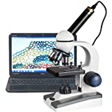 AmScope M150C-E-A 40X-1000X LED Cordless All-Metal Framework Full-Glass Optical Lens Student Compound Microscope with Coarse & Fine Focusing + Digital Camera USB Imager