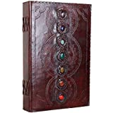 Seven Stone Leather Journal Handmade Notebook Unlined Blank 600 Pages 13 1/2 X 22 inches