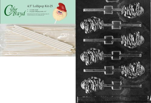 Cybrtrayd 00045St25-C083 Small Santa Lolly Christmas Chocolate/Candy Mold with 25 4.5-Inch Lollipop Sticks