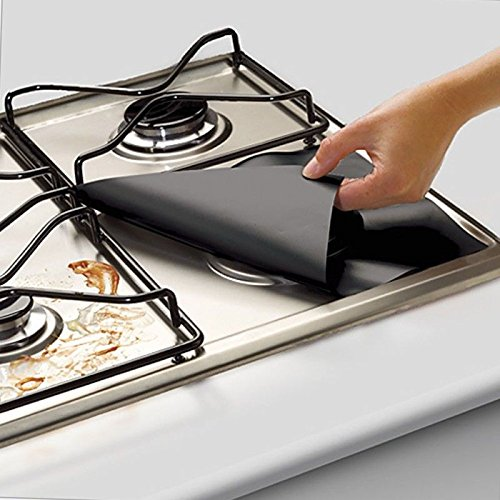 Denshine Double Thickness Gas Range Protectors, Reusable Stovetop Burner Line Covers Non-Stick Protectors for Gas Stove Easy to Clean, Cuttable, Dishwasher Safe, Heat Safe –Black (8 Pack)