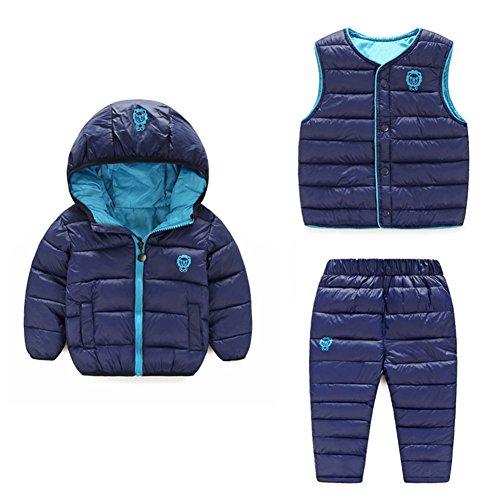(Baby Boy Girl Winter Puffer Snowsuit Down Hooded Jacket+Vest+Ski Pants Set Dark Blue 100)