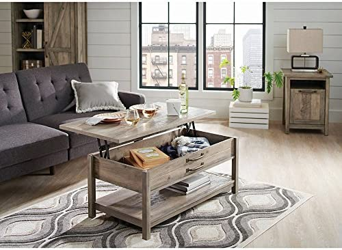 Better Homes and Gardens Modern Farmhouse Top Lifts up and Forward Coffee Table, Rustic Gray Finish Table, Rustic Gray