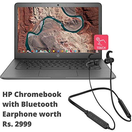HP Chromebook 14-Inch Thin and Light Touchscreen Laptop with Bluetooth Headset (Intel /4GB/64GB onboard + Additonal Cloud storage/256GB Expandable/Chrome OS/Backlit/) (Chalkboard Grey with Neckband)