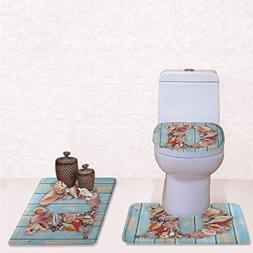 Comfort Flannel 3 Pcs Bath Rug Set,Contour Mat Toilet Seat Cover,Nautical Themed Alphabet with Seashells Animal Wooden Background with Pale Blue Ivory Dark Coral,Decorate Bathroom,Entrance Door,kitch