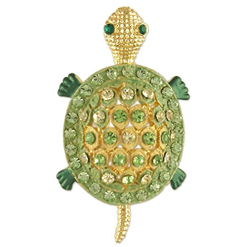Swarovski Green Brooch - CRYSTAL SEA TURTLE BROOCH PIN MADE WITH SWAROVSKI ELEMENTS GREEN